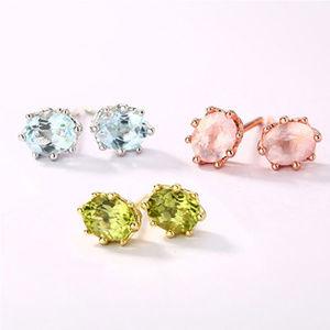 Penfine Jewelry - 4x5mm Oval Topaz/Peridot/Crystal Silver Earrings